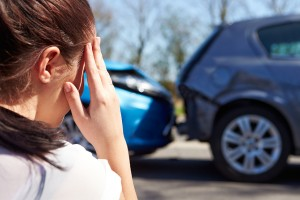 women on the phone after accident